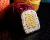 Yellow Toast Brooch - Wooden Embroidered Jewelry
