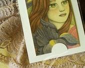 Original ACEO/ATC Vintage Acrylic Painting - Iris (Flower Girl Series) by Amalia K