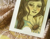 Original ACEO/ATC Vintage Acrylic Painting - Daisy (Flower Girl Series) by Amalia K
