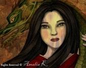 ACEO/ATC Print - Resurrection (Lady and the Dragon), Geisha Series by Amalia K