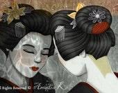 ACEO/ATC Print - Dusk at Dawn (Geisha Series) by Amalia K