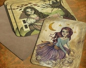 Set of 8 Note cards with Envelopes Containing 2 Designs from Original Illustrations by Amalia K