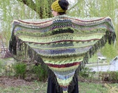 Flamenco Triangle Shawl wrap Green Purple fringe and multi texture - MollysPurl