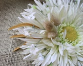 White and wheat flower wedding fascinator - MollysPurl