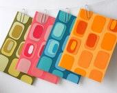 Handmade Stationery, Set of Four - Blue, Aqua, Green, Pink, Orange, Retro, Pod, Colorful, Colourful, Spring, Happy, Bright