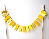 """Cake Bunting, 12"""" Yellow Flags - Decoration, Party, Event, Birthday, Dessert, 8 Inch Cake, Eight, Paper, Baker's Twine, Wood Dowels, Bright"""