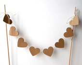 "Cake Bunting, 12"" of Kraft Hearts - Wedding Decor, Cake Topper, Rustic, Natural, Nature, Primitive, Brown, Farmhouse, Baker's Twine, Dowels"