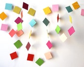 Garland for Spring, 4 ft. - Colorful, Colourful, Bright, Happy, Squares, Simple, Shapes, Different, One of a Kind, Party Decor, Brighten