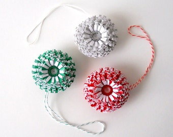 Ornaments, Set of Three Small Paper Flowers - Red, White, Green, Gray, Christmas, Hanging, Unique, Different, Round, Cute, Little, 3
