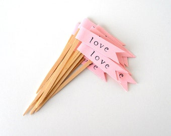 """Cupcake Toppers, 12 Pink """"Love"""" Flags, Hand-Stamped - Wedding, Decor, Party, Birthday, Dessert, Paper, Wooden Picks, Light, Pastel, Pretty"""