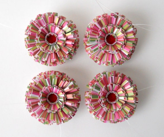 Paper Ornaments, Set of Four, Small Size - Red, Green, Pink, Stripe, Cute, Little, For Her, Holiday, Christmas, Tree, Hanging, Flower