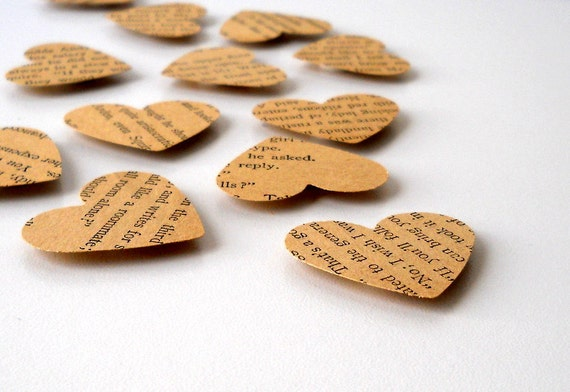 Raised Adhesive Hearts, Set of Twelve - Vintage Paper, Antique, Book, Text, Writing, Brown, Love, Cute, 12, Card Making