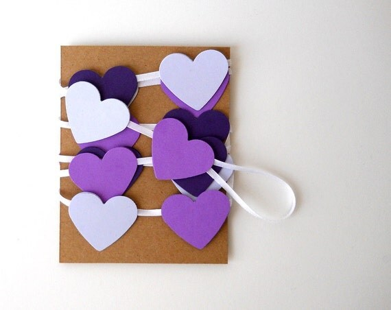 Heart Garland, 4 ft. - Purple, Lavender, Violet, Aubergine, Valentine's Day, Love, Decoration, String, Ribbon, Simple, Party Decor, White