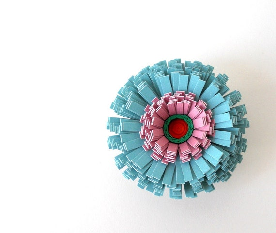 Magnet, Handmade Paper Flower - Blue, Turquoise, Teal, Purple, Pink, Red, Green, Aqua, Dusty Rose, Pretty, Spring, For Mom, Mother's Day