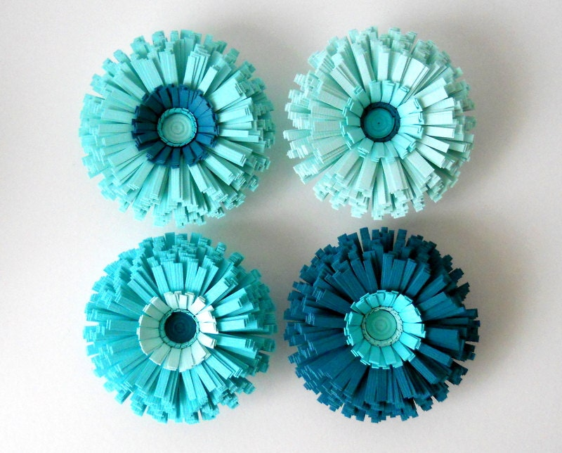 Christmas round table settings - Magnets Paper Flowers Set Of Four Teal Blue By Colormill On Etsy