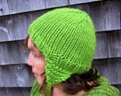 Bright Green Handknit Soft Chunky Wool Hat with Earflaps Men Women
