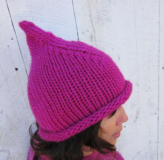 Bright Fuschia Handknit Soft Chunky Wool Pixie Hat Beanie