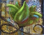 Bold Blossom print of mixed media acrylic painting