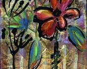 Wild Flower print of mixed media acrylic