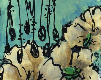 Floral Chandelier mixed media print of acrylic painting