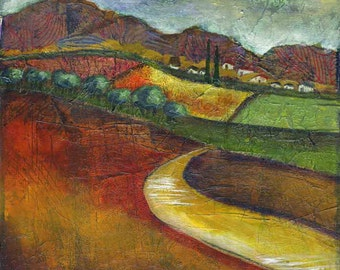 Road to Tuscany print of mixed media acrylic painting