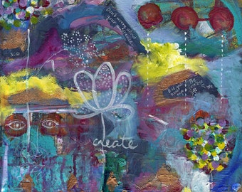 Create print of mixed media acrylic painting