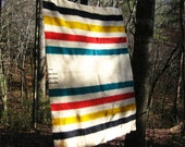 Vintage Hudson Bay Trapper Point Wool Blanket - Beautiful and Warm