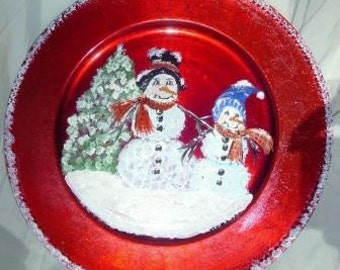 Snowman Charger Plate