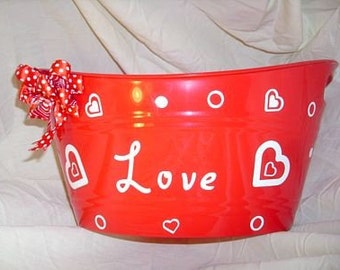 Red and White Polka Dotted Bucket