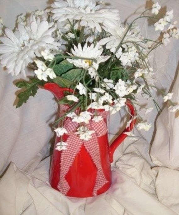 Red Country Pitcher Floral Arrangement