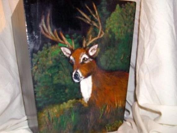 Painted Buck on Wastebasket