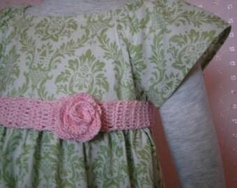 Girls Summer Dress w/ crochet lace trim Flower Girl party little dress green turquoise aqua red black white damask toddler baby infant dress