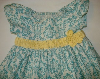 Easter Flower Girl Dress Girls Toddler Spring Aqua Damask with Hand Crocheted Band and Butterfly or Rose brooch party special occasion dress
