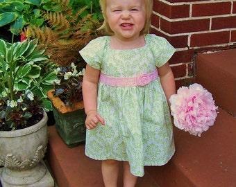 Easter Dress Girls Toddler Spring little girl baby dress-damask green ,pink hand crochet dress ,red blue brown aqua purple coral black white