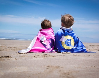 TWO SUPERHERO CAPES super hero cape personalized custom monogram many logos and colors boys girls toddler baby cape Christmas birthday gift