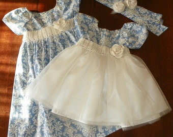 Girls  Easter Dress little girls toddler Flower Girl Damask and Tulle with crochet or satin sash, Wedding , Blue ,Plum, many colors
