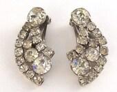 Vintage Wedding Earrings ... 1950s Sparkling Rhinestone
