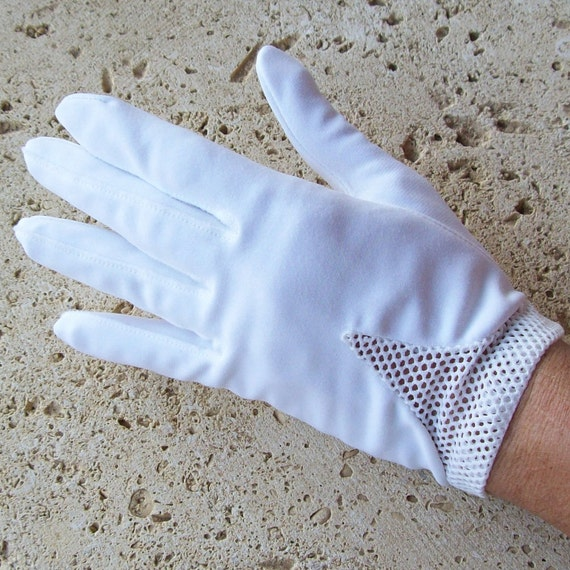 Vintage Gloves Wedding White Classic With Mesh Trim