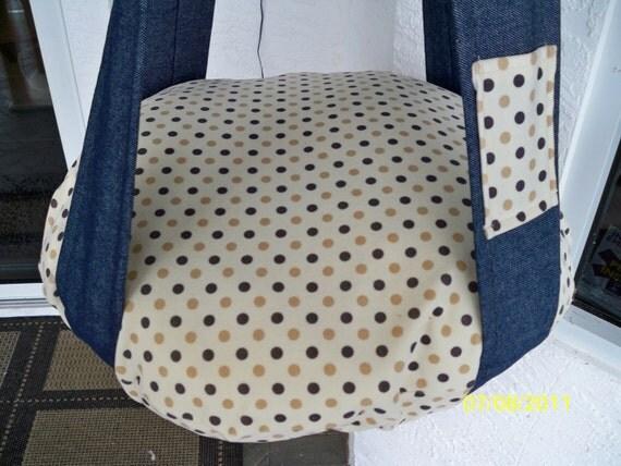 Denim & Cream Polka Dot Plush Single Kitty Cloud Cat Bed,  Hanging Cat Bed