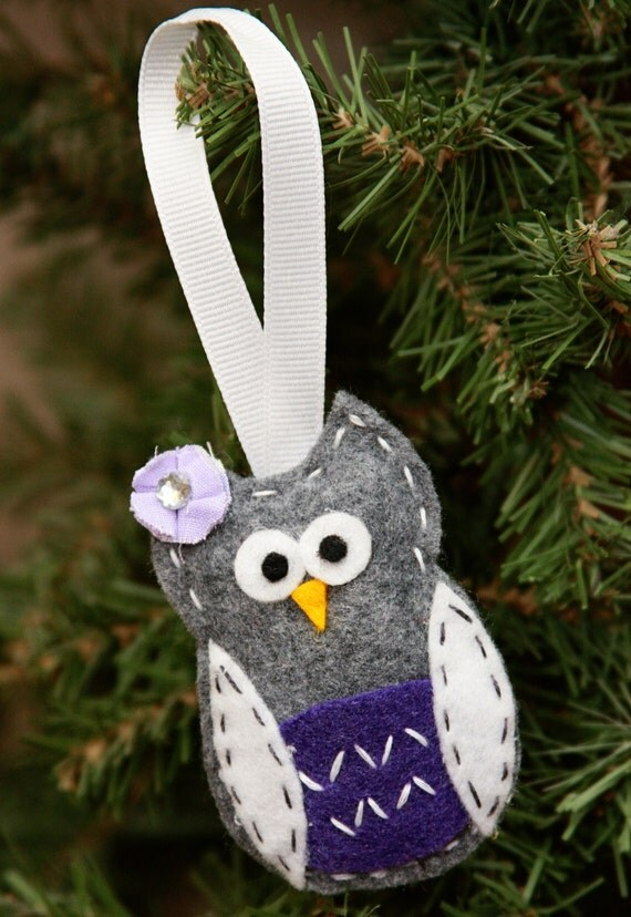 Owl Christmas Ornament grey purple white by MartNay on Etsy