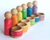 RESERVED for LULU- Waldorf- Hula Hoop Men- Wooden Montessori - Educational Toy