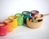 Waldorf and Montessori  Natural Wood Toy -Educational Rainbow Toy- SCOOP N SORT