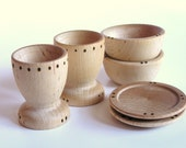 Organic -Waldorf- Wooden -Toy Dishes- Cups, Plates and Bowl Set- Pretend -Play Kitchen Set