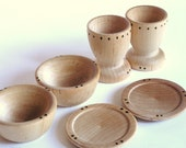 Waldorf- Wooden Toy Dishes- Cups, Plates and Bowl Set- Play Kitchen Set