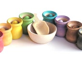 Wooden -Waldorf- Kids -Toy-Waldorf and Montessori  Natural Wood Toy -Educational Rainbow Toy- SCOOP N SORT