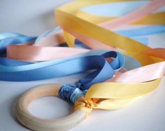 Wooden -Waldorf- Kids -Toy-Waldorf - Natural- Wood Ring Hand Kite- FLY ME- HOPE
