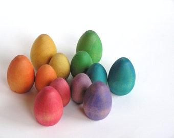 Wooden Toy- RAINBOW DOZEN -  Big n Little Easter Eggs - Waldorf- Montessori- Inspired Toy
