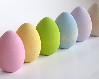 Natural Wood Toy- Pastel Easter Eggs- Waldorf Toy/ Wooden  Eggs/ Easter Decoration/ Easter Gift