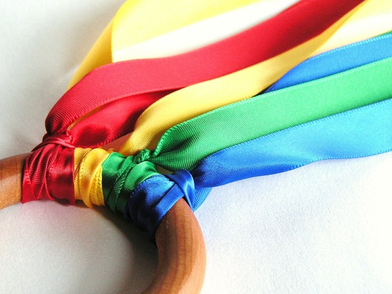Wooden -Waldorf- Kids -Toy-Waldorf- Natural Wood Ring Toy -FLY ME-Primary- Hand Kite- Birthday Party Favor