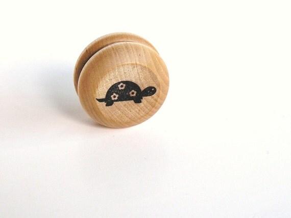 Eco- Friendly-Game- Kids- Wood-Wooden -Waldorf- Kids -Toy-Natural Wood Toy - Turtle -Yo- Yo -Classic Fun- Great Party Favor- Wedding Favor